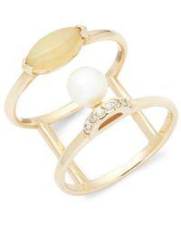 Paige Novick - Olivia Pearl, Diamond, Opal & 14k White Gold Ring - Lyst