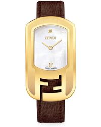 Fendi - Chameleon Diamond, Mother-of-pearl, Goldtone Stainless Steel & Leather Strap Watch - Lyst