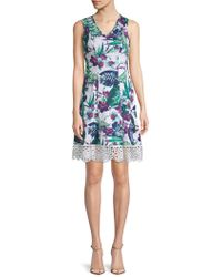 Donna Ricco - Embroidered Floral Flare Dress - Lyst