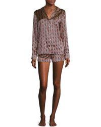 Lyst - Stella Mccartney Poppy Snoozing Stretch-silk Pyjama Set in Blue 45dad777f