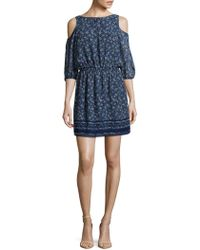 Max Studio - Printed Cold Shoulder Dress - Lyst