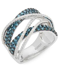 Effy - Diamond, Blue Diamond And 14k White Gold Crossover Ring - Lyst