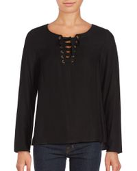 Kensie - Rayn Woven Lace-front Top - Lyst