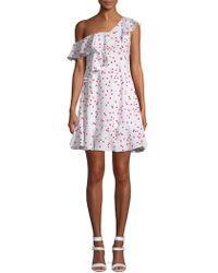 Lea & Viola - Polka Dot One-shoulder Ruffle Dress - Lyst