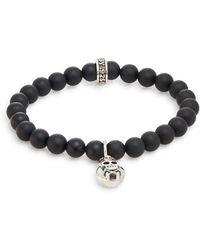 King Baby Studio - Onyx & Silver Beaded Skull & Crossbones Charm Bracelet - Lyst