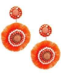 Panacea - Coral Circle Beaded Drop Earrings - Lyst