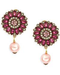 Heidi Daus - Happy Flower Multicolored Crystal & Beaded Drop Earrings - Lyst