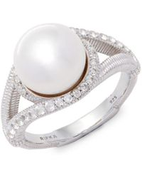 Judith Ripka - Pearl, White Sapphire & Sterling Silver Double Lasso Solitaire Ring - Lyst