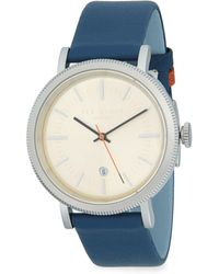 Ted Baker - Etched Stainless Steel Leather Strap Watch - Lyst