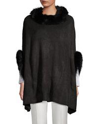 Adrienne Landau - Dyed Fox Fur Trimmed Poncho - Lyst