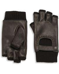 John Varvatos - Ribbed Leather Fingerless Gloves - Lyst