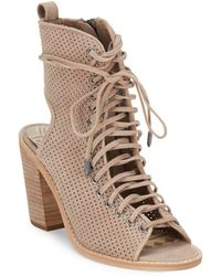 Dolce Vita - Lira Sand Perforated Leather Ankle Boots - Lyst