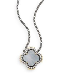 Freida Rothman - Mother-of-pearl, 14k Yellow Gold Vermeil & Sterling Silver Clover Spike Pendant Necklace - Lyst