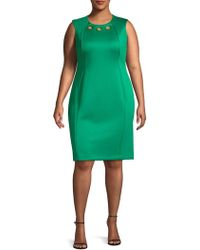 Calvin Klein - Sleeveless Grommet Sheath Dress - Lyst
