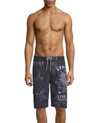 Affliction - Graphic Boardshorts - Lyst