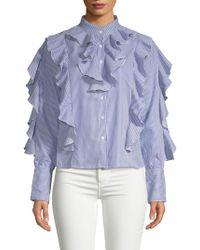 Haute Rogue - Terri Striped Ruffle Shirt - Lyst