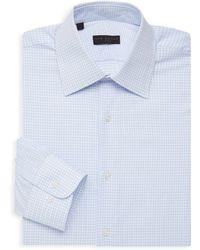 Ike Behar Checkered Long-sleeve Dress Shirt - White