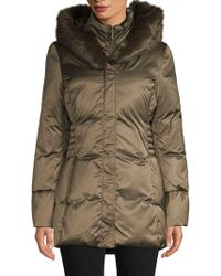 Tahari - Quilted Faux Fur-trimmed Hooded Coat - Lyst