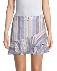Parker - Striped Ruffle Linen Skirt - Lyst