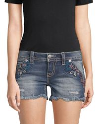 Miss Me - Embroidered Denim Shorts - Lyst