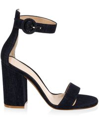 a0057db6926 Lyst - Manolo Blahnik Lauratomod Ankle-Strap Denim Sandals in Gray