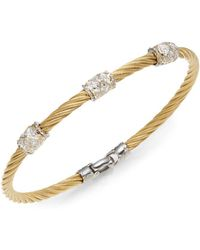 Alor - Diamond, 18k Yellow Gold & Steel Coil Bracelet - Lyst