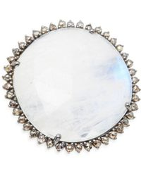Bavna - Diamond & Rainbow Moonstone Ring - Lyst