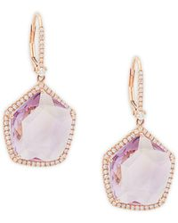 Meira T - 14k Rose Gold Amethyst & Diamond Geometric Dangle Drop Earrings - Lyst