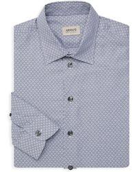 Armani - Tailored-fit Geometric Print Cotton Shirt - Lyst