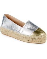 Pure Navy - Metallic Leather Flatform Espadrilles - Lyst