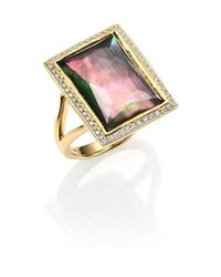 Ippolita | Gelato Black Shell, Clear Quartz, Diamond & 18k Yellow Gold Medium Baguette Doublet Ring | Lyst