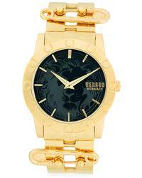 Versus - Goldtone Lion Dial Bracelet Watch - Lyst