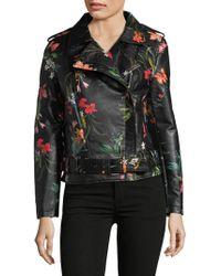 Bagatelle - Faux Leather Floral Moto Jacket - Lyst