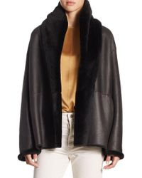 Vince - Reversible Shawl Collared Shearlingcoat - Lyst