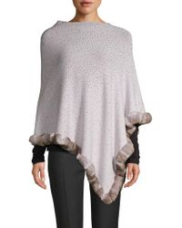 La Fiorentina - Embellished Dyed Rabbit-fur Trimmed Poncho - Lyst