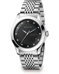 d0bb59dff99 Gucci - G-timeless Diamond  amp  Stainless Steel Bracelet Watch - Lyst