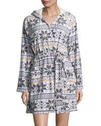 Kensie - Graphic Hooded Robe - Lyst