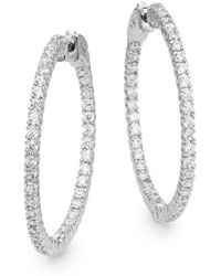 "Saks Fifth Avenue - Pavé Hoop Earrings/1.25"" - Lyst"