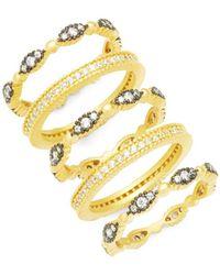 Freida Rothman - Fleur Bloom Set Of Five Sterling Silver & Crystal Rings - Lyst