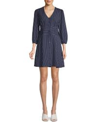 19 Cooper - Pinstriped Puffed-sleeve A-line Dress - Lyst