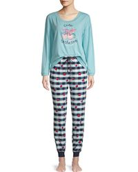 Jane And Bleecker Cute To The Core 2-piece Cotton-blend Pyjama Set - Blue