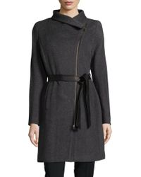 SOIA & KYO - Zip-up Belted Coat - Lyst