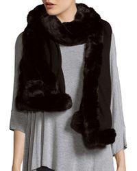 """Badgley Mischka - Solid Faux Fur-trimmed Scarf - 80"""" X 24"""" - Lyst"""