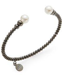 Majorica - 8mm White Pearl Beaded Cuff Bracelet - Lyst