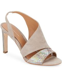 Elie Tahari - Harper Suede & Iridescent Embossed Leather Asymmetrical Pumps - Lyst