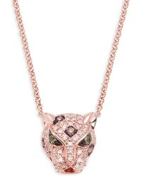Effy - 14k Rose Gold, Diamond & Emerald Panther Pendant Necklace - Lyst