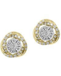 Effy - 14k Yellow & White Gold Diamond Earrings - Lyst