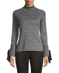 Laundry by Shelli Segal - Striped Turtleneck Top - Lyst