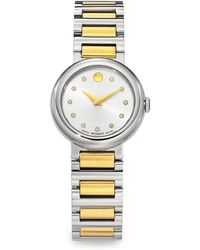 Movado - Concerto Diamond & Two-tone Stainless Steel Watch - Lyst