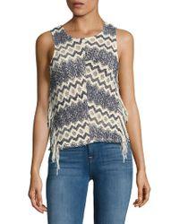 Ella Moss - Fringed Open-knit Top - Lyst